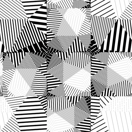 Illustration pour Black and white seamless pattern with parallel lines and geometric elements, infinite mosaic textile, abstract vector textured floor covering. - image libre de droit