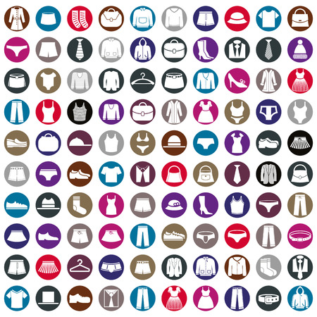Illustration pour Clothes icons vector collection, vector icon set of fashion signs and symbols. - image libre de droit