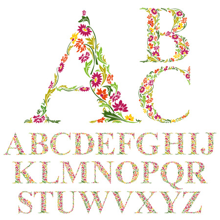 Ilustración de Font made with leaves, floral alphabet letters set, vector design. - Imagen libre de derechos