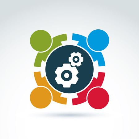 Illustration for Vector illustration of gears - enterprise system theme, international business strategy concept. Cog-wheels, moving parts and people – components of manufacturing process. - Royalty Free Image