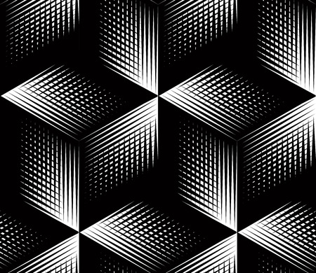 Illustration pour Graphic seamless abstract pattern, regular geometric black and white 3d background. Contrast ornament. - image libre de droit