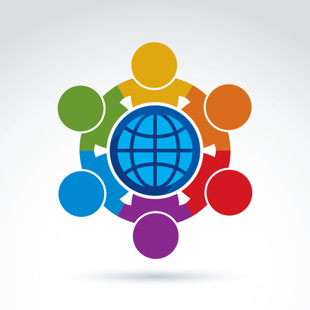 Illustration pour Vector illustration of people standing around a globe sign, management team. Global business branding conceptual icon. Earth protection idea. - image libre de droit