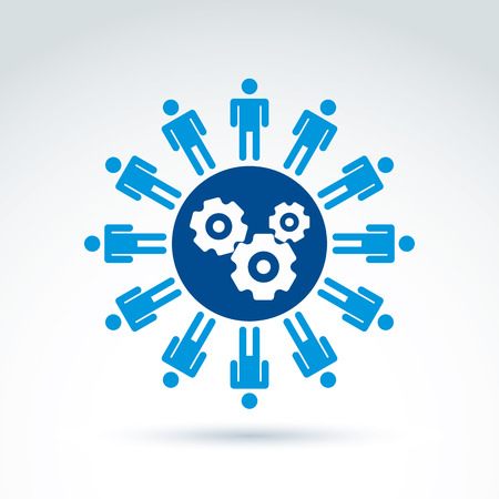 Illustration for Vector illustration of gears - enterprise system theme, organization strategy concept. Cog-wheels, moving parts and people – components of manufacturing process. - Royalty Free Image