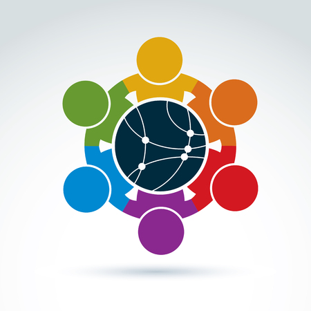 Illustration pour Vector colorful illustration of people standing around a round network sign, management team. Global business branding conceptual icon. Connection idea. - image libre de droit
