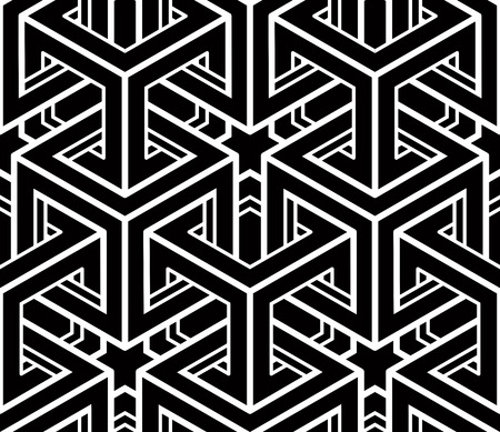 Illustration pour Seamless optical ornamental pattern with three-dimensional geometric figures. Intertwine black and white composition. - image libre de droit