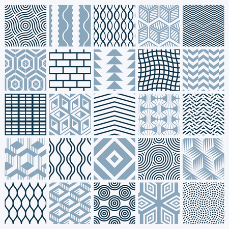 Illustration pour Graphic ornamental tiles collection, set of monochrome vector repeated patterns. Vintage art abstract textures can be used as wallpapers. - image libre de droit