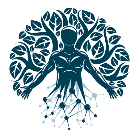 Ilustración de Vector individual, mystic character made with wireframe mesh connections and eco tree leaves. Human, science and ecology interaction, technology and nature balance. - Imagen libre de derechos