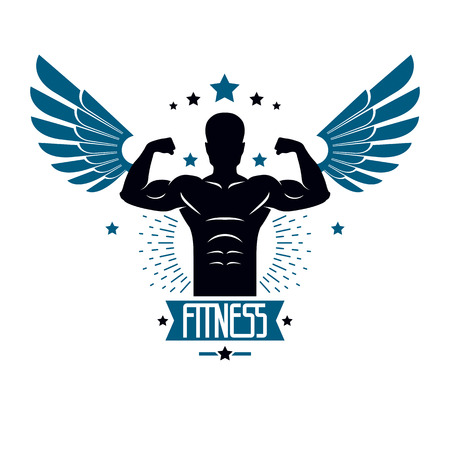 Ilustración de Fitness and heavyweight gym sport club logotype template, retro style vector emblem with wings. With sportsman silhouette. - Imagen libre de derechos