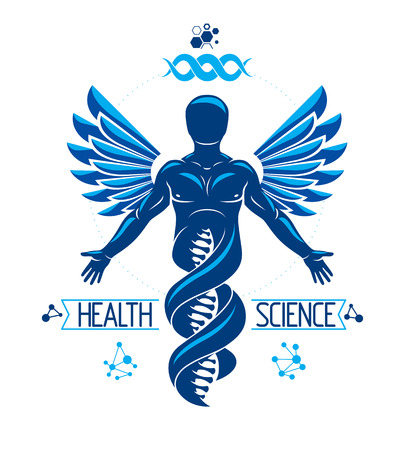 Illustration pour Vector graphic illustration of strong male depicted as DNA symbol continuation and created with wireframe connections and bird wings. Biomedical engineering concept. - image libre de droit