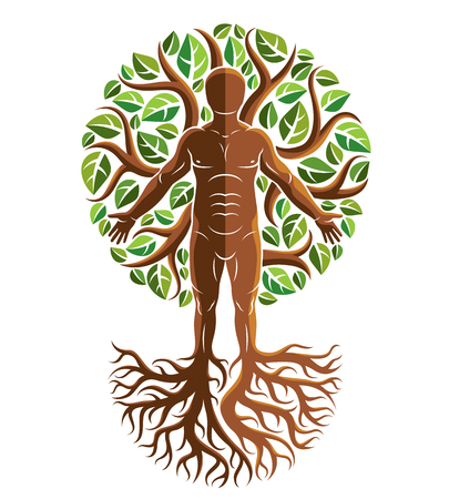 Illustrazione per Vector graphic illustration of strong male, body silhouette standing on white background and made using tree roots and green leaves. Tree of life metaphor, family roots. - Immagini Royalty Free