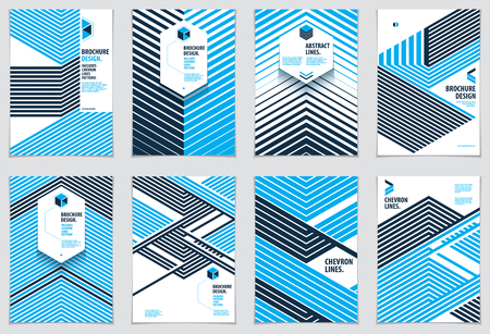 Illustrazione per Modern minimal Template brochures, leaflets, posters. Vector geometric patterns abstract backgrounds set. Striped line textured geometric illustrations. A4 print format. - Immagini Royalty Free