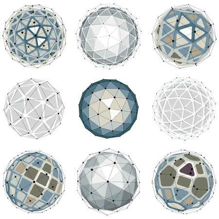 Illustration pour 3d vector digital wireframe spherical objects made using different geometric facets. Polygonal orbs created with lines mesh. Low poly shapes collection, lattice forms for use in web design. - image libre de droit