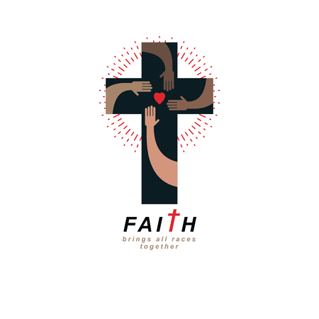 Illustration pour True Belief and Religion brings people together. Christian Cross true belief in God vector symbol, Christianity religion icon. - image libre de droit