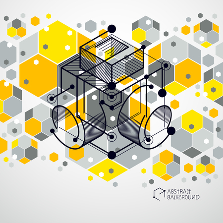 Ilustración de Mechanical scheme, yellow vector engineering drawing with 3D cubes and geometric elements. Engineering technological wallpaper made with honeycombs. - Imagen libre de derechos
