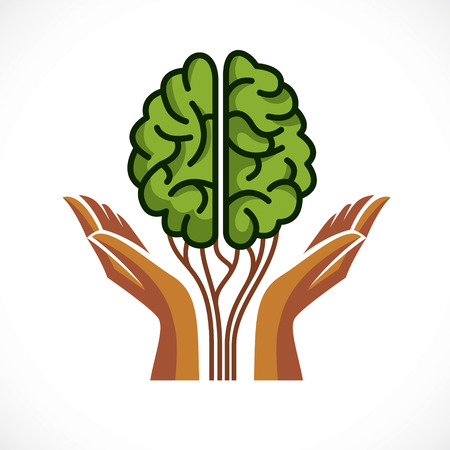 Illustration pour Mental health and psychology concept, vector icon or logo design. Human anatomical brain in a shape of green tree with tender guarding hands, growth and heyday of personality and individuality. - image libre de droit