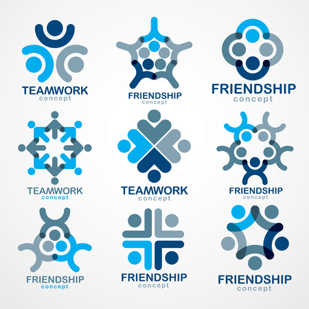 Illustrazione per Teamwork and friendship concepts created with simple geometric elements as a people crew. Vector icons or logos set. Unity and collaboration ideas, dream team of business people blue designs. - Immagini Royalty Free