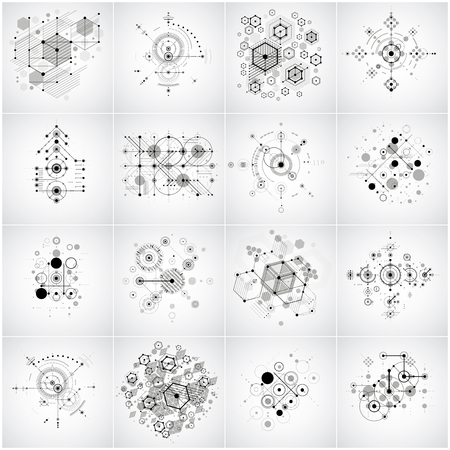 Photo pour Set of modular Bauhaus vector backgrounds, created from geometric figures like circles and hexagons. Best for use as advertising poster or banner design. Collection of abstract mechanical schemes. - image libre de droit