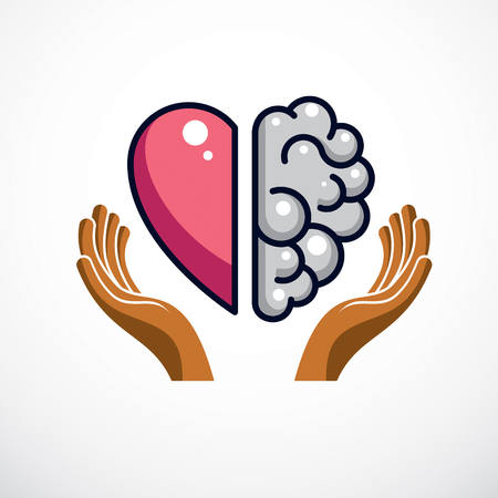 Ilustración de Heart and Brain concept, conflict between emotions and rational thinking, teamwork and balance between soul and intelligence. Vector logo or icon design. - Imagen libre de derechos