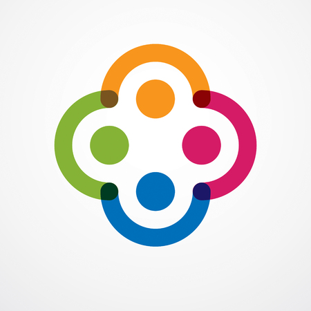 Illustration for Teamwork and friendship concept created with simple geometric elements as a people crew. Vector icon or logo. Unity and collaboration idea, dream team of business people colorful design. - Royalty Free Image
