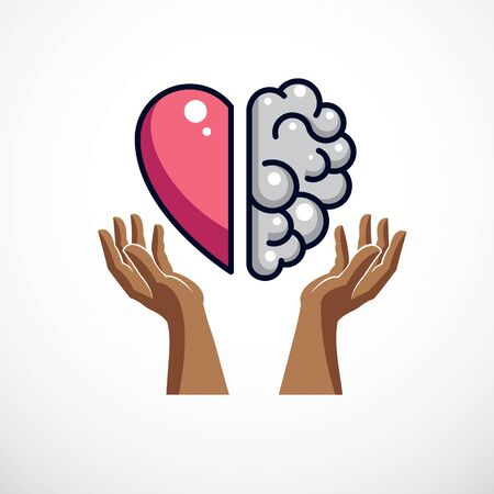 Ilustración de Heart and Brain concept, conflict between emotions and rational thinking, teamwork and balance between soul and intelligence. Vector  or icon design. - Imagen libre de derechos