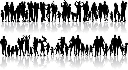 Illustrazione per Family silhouettes - Immagini Royalty Free