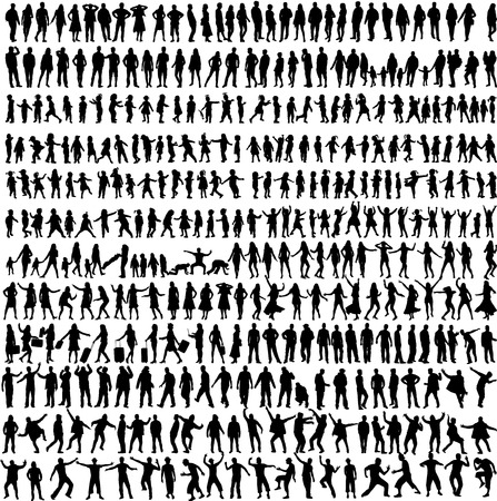 Illustration for People Mix Silhouettes, vector work - Royalty Free Image