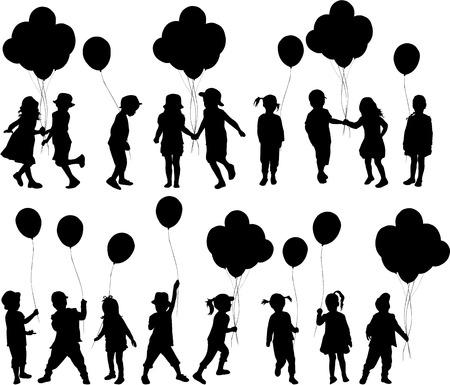 Illustration pour Silhouettes of children with balloon. - image libre de droit