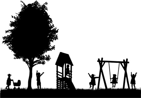 Illustration for Children at the playground. - Royalty Free Image