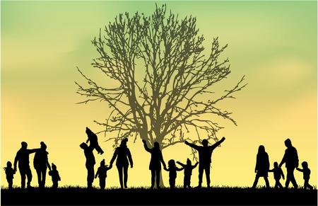 Illustration pour Family silhouettes - image libre de droit