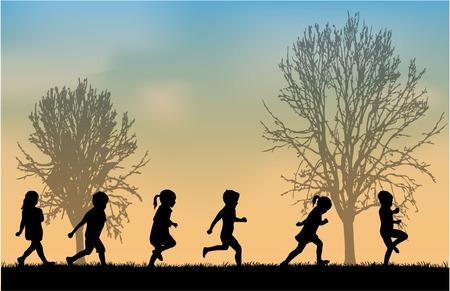 Illustrazione per children silhouettes - Immagini Royalty Free