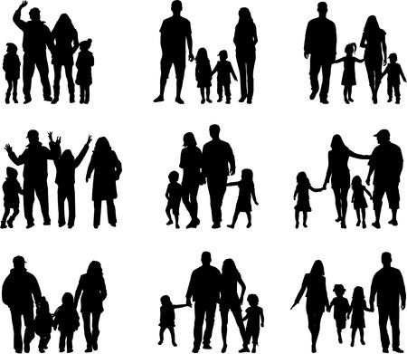 Ilustración de Family silhouettes - Imagen libre de derechos