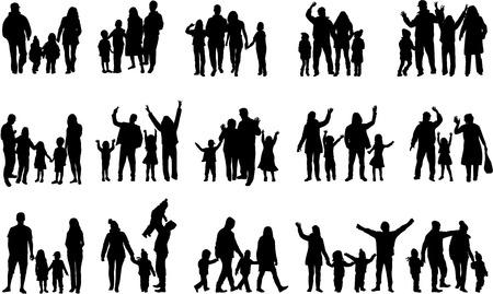 Photo pour Family silhouettes - image libre de droit