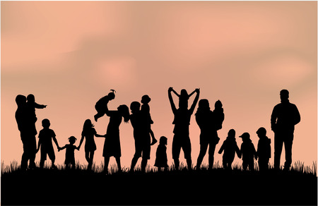 Photo for Family silhouettes - Royalty Free Image