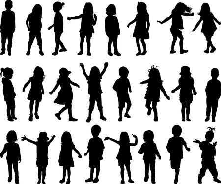 Ilustración de children silhouettes - Imagen libre de derechos
