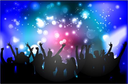 Illustrazione per Dancing people silhouettes - Immagini Royalty Free