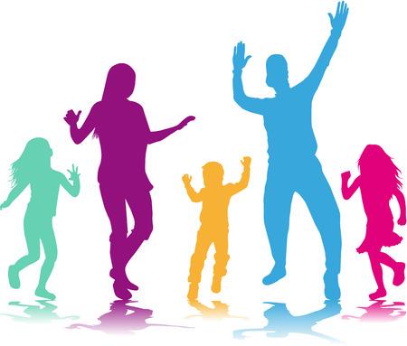 Ilustración de Dancing people silhouettes - Imagen libre de derechos