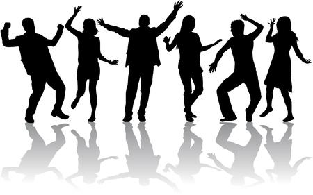 Illustration pour Dancing people silhouettes - image libre de droit