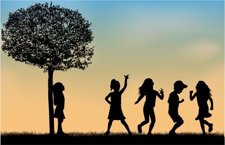 Illustration pour Children silhouettes. - image libre de droit