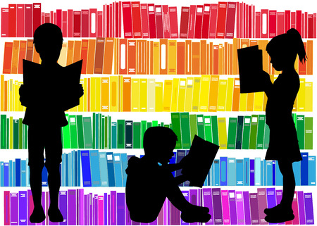 Illustration for Children reading the book. - Royalty Free Image