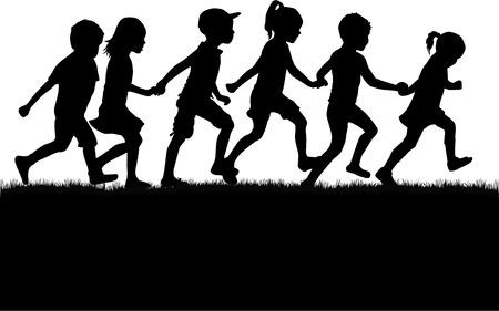 Ilustración de Children silhouettes. - Imagen libre de derechos