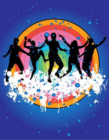 Illustration pour Dancing people silhouettes. - image libre de droit
