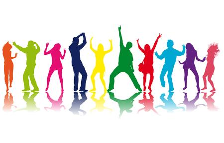 Illustration pour Dancing people silhouettes. Vector work. - image libre de droit