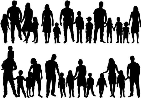 Illustration pour Illustration of silhouette of set of families on white background. - image libre de droit