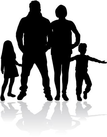 Illustration pour Vector silhouette of family. - image libre de droit
