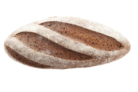 Foto de oaf of rye bread on a white background isolate. view from the top - Imagen libre de derechos