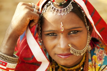 Photo for A portrait of beautiful Indian woman, Rajasthan, Jaisalmer, India - Royalty Free Image