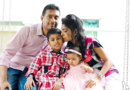 Indian family at outdoor home garden