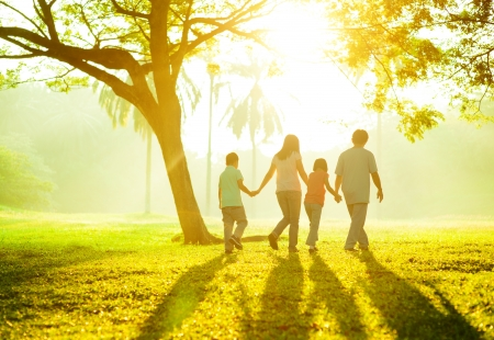 Photo pour Happy Asian family holding hands walking over green lawn - image libre de droit