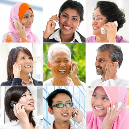 People talking on the phone, Collage made of nine pictures of diversity races