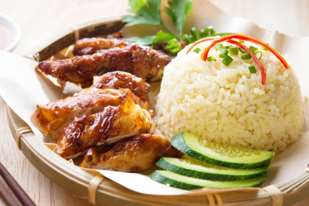 Malaysia grilled chicken rice. Asian style Hainan chicken rice close-up. Asian food.